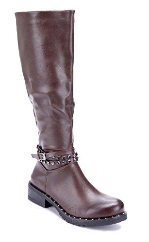 Schuhtempel24 Damen Schuhe Klassische Stiefel Stiefeletten Boots Blockabsatz Schnalle/Ziersteine/Nieten 4 cm Braun