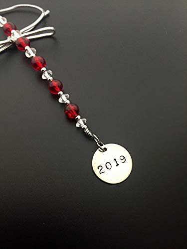 2019 Icicle Wine Bottle Charm/Ornament/Gift Tag - Icicle Christmas Ornament/Bottle Tag/Gift Tag with 3/4 inch Round Nickel Silver 2019 Charm with Jewelry Box - Handmade with Red Vintage Beads (Accents Nickel Tone)