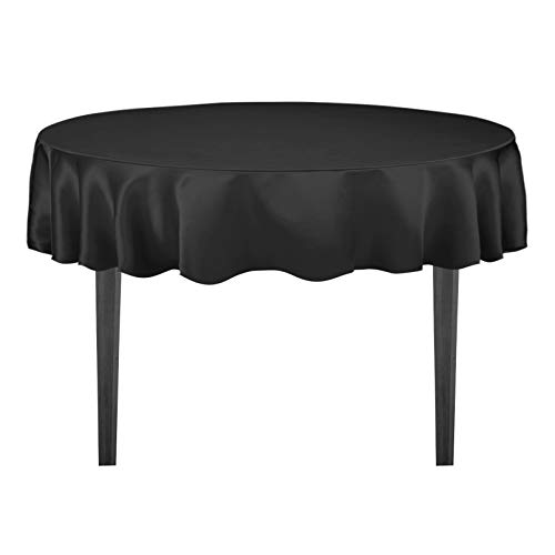 LinenTablecloth 70-Inch Round Satin Tablecloth Black