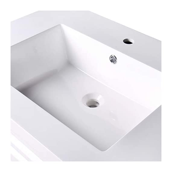 """Dyconn Faucet VCSH60W Harrington Collection 60"""" Freestanding Shaker Bathroom Vanity with Double Stone Resin Countertop Basin, Matte White - Vanity set: includes base cabinet (with four doors / two drawers) and double basins High-grade construction: made of premium plywood to achieve outstanding durability and stability for prolonged use Pre-drilled 1 3/8 faucet hole and 1 7/10 drain hole for additional convenience - bathroom-vanities, bathroom-fixtures-hardware, bathroom - 31bgtanZaWL. SS570  -"""