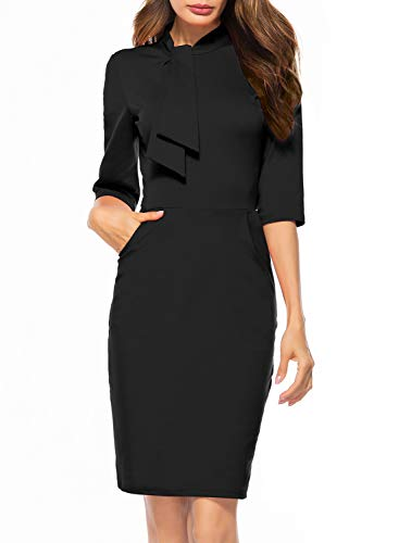 Berydress Women's Vintage Chic 50s Tie Neck 3/4 Sleeve Sheath Bodycon Cocktail Party Pencil Dress with Pockets (S, 6068-Black 2)