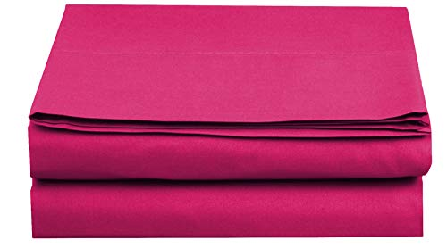 Elegant Comfort  Premium Hotel 1-Piece, Luxury and Softest 1500 Thread Count Egyptian Quality Bedding Flat Sheet, Wrinkle-Free, Stain-Resistant 100% Hypoallergenic, Twin/Twin XL, Hot Pink ()