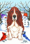Basset Hound - by Tomoyo Pitcher, Winter Themed Dog Breed Flags 12 x 18
