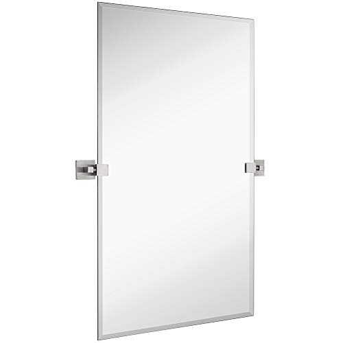 Hamilton Hills Large Squared Modern Pivot Rectangle Mirror with Brushed Chrome Wall - Mirrors Modern Bathroom