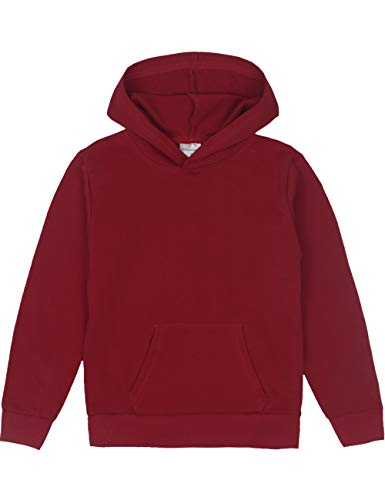 Youth Maroon Hoodie (Spring&Gege Youth Solid Pullover Sport Hoodies Soft Kids Hooded Sweatshirts for Boys and Girls Size 9-10 Years Maroon)
