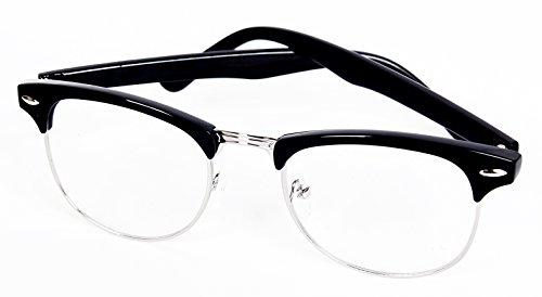 Clubmaster Glossy Black Half Frame Wayfarer Nerd Glasses Clear Lens - Free -