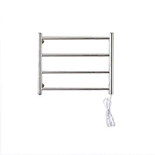 Electric Towel Heating Rod, Polish Chrome Insert Hard-Wired Heated Towel Rack, Bathroom Wall-Mounted 304 Stainless Steel,Plugin ()