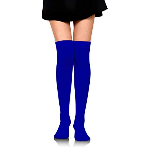 DANIEL MOORE Women Thigh High Stockings Over The Knee High Leg Warmer Duke Blue Solid Color Boot Stocking Extra Long Sport Tube Socks