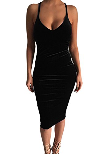 Carprinass Women's Sleeveless Bodycon Midi Dress Velvet Club Bandage Dress