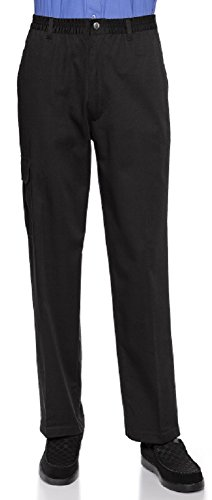- Mens Full Elastic Waist Pants with Zipper Fly and Snap Closure (M, Black)