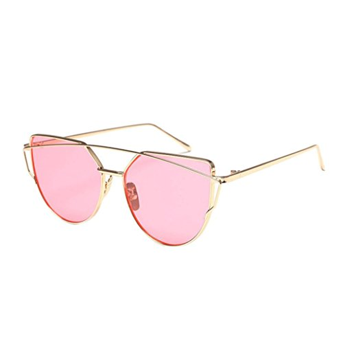 SMYTSHOP Cat Eye Glasses-Fashion Twin-Beams Classic Women Metal Frame Mirror Sunglasses (Gold, (Mirror Beam)