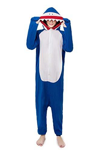 URVIP Unisex One-Piece Pajamas Halloween Costumes Whale Shark Lounge Apparel Blue L
