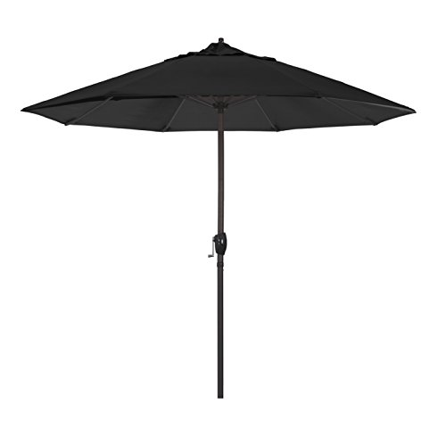 California Umbrella 9 Round Aluminum Market Umbrella, Crank Lift, Auto Tilt, Bronze Pole, Sunbrella Black Fabric