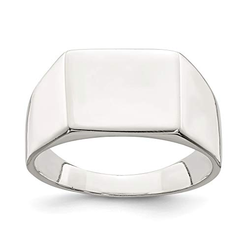 Bonyak Jewelry Sterling Silver 9x11mm Solid Back Signet Ring - Size 7 ()