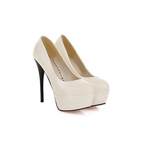 Femeninos atractivos del talón de 13,5 cm de alto zapatos de tacón de plataforma de 4,5 cm Blanco