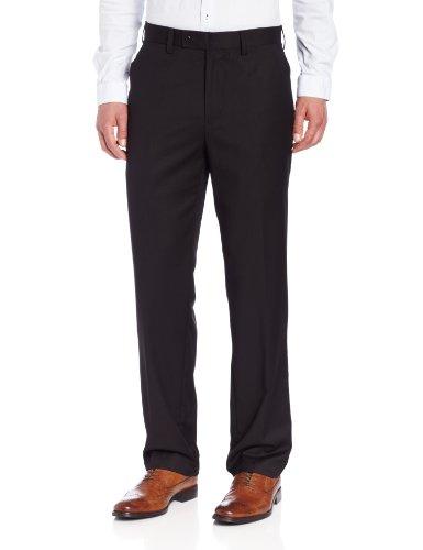 Louis Raphael Men's Herringbone Modern-Fit Flat-Front Dress Pant, Black, 40x34 - Modern Black Dress Pants