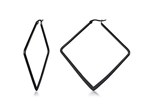 Stainless Steel Oversize Square-shaped Polished Simple Plain Geometric Flattened Hoop Earrings for Women Girl, Black