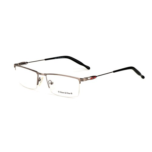 Eileen&Elisa Vinatge Glasses Frame Metal Clear Lens Reading Eyeglasses with Case (Gun, 54) (Glasses Vinatge)