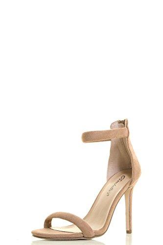Breckelles Womens Öppen Tå Klassiska Höga Stilett Klack Ankelbandet Pump Sandal Beige