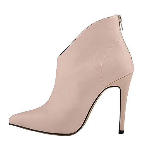 High end Womens Elegant and Simple Zip Slip On Pointed Toe Stiletto High Heel Pump Shoes,6MUS,Beige
