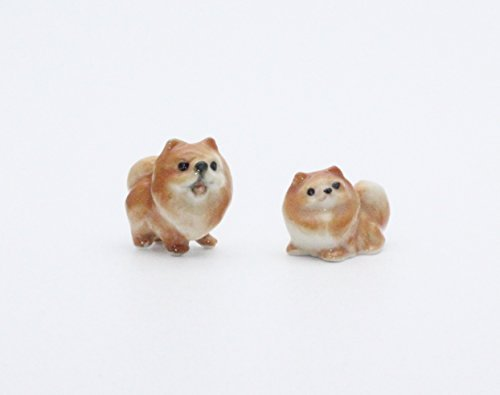 Dollhouse Miniatures Ceramic Cute Pomeranian Dog FIGURINE Animals Decor by ChangThai Design