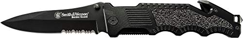 (Smith & Wesson Border Guard SWBG1S 10in High Carbon S.S. Folding Knife with a 4.4in Drop Point Blade and Aluminum Handle for Outdoor, Tactical, Survival and EDC)