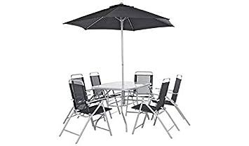 havnyt Pacific - Juego de jardín de 6 plazas con sillas Plegables, Resistente a la Intemperie, Silver with Parasol
