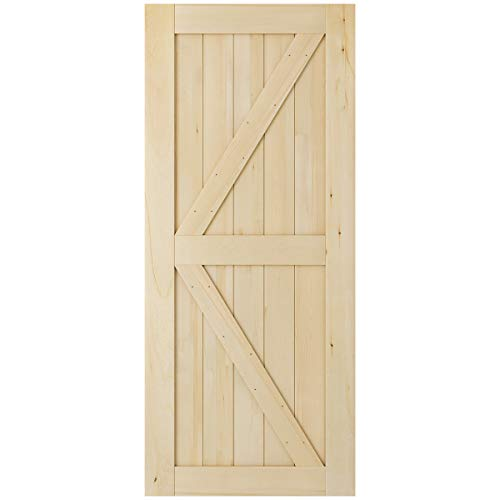 SmartStandard 36in x 84in 2-Panel Wood Interior Barn Door Slab, Pre-Drilled Ready to Assemble, DIY Solid Core Unfinished Cypress Wood Sliding Door, Natural, K-Frame (Fit 6.6ft Track)