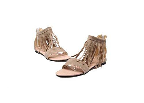 Beauqueen Sandalen Frauen Frühling und Sommer flache Plain Tassel weiblich schwarz Beige Freizeit Urlaub Schuhe spezielle Größe Europa Größe 30-46 Black