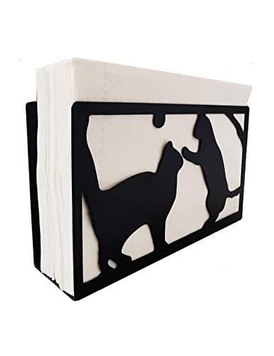 YEAVS Upgrade Napkin Holders for Kitchen Restaurant Picnic Table, Napkins Stand Dispenser Modern Décor (Cat,Black)