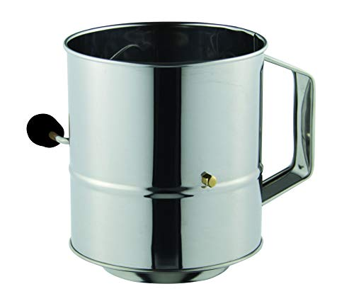 Avanti 12884 Stainless Steel Crank Handle Flour Sifter, 5 Cup Capacity, 3 Cup, Silver