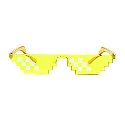 Nerdy Gamer Pixel Shape Narrow Plastic Funky Sunglasses Yellow 6 Square (6sq Square)