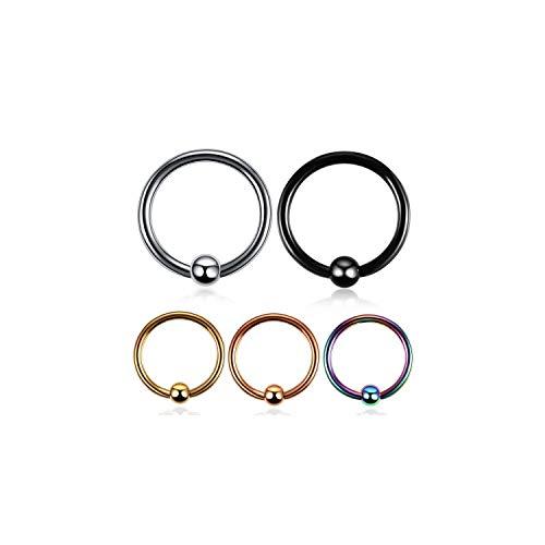 Nose Stud 1Pc Steel Captive Hoop Bead Rings Nipple Labret Piercings Ear - Triangle Bead Captive Ring