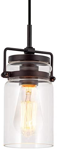 Kira Home Wyer 8 Modern Industrial Farmhouse Pendant Light Mini Clear Glass Cylinder Shade, Dimmable Adjustable Wire, Oil Rubbed Bronze Finish