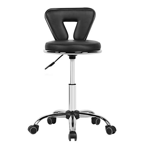 Yaheetech Swivel Salon Stool Chair with Backrest & Wheels Rolling Stool for Massage Salon Office Facial Spa Medical Tattoo Chair Stool (Black 1pcs)