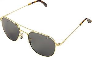 AO Original Pilot Sunglasses, Wire Spatula, Gold Frame, CC Gray Poly Lens, 52mm,
