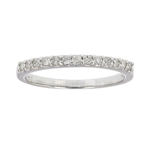 Diamond Ring Wedding Band Rings - 1/5 ctw Pave Diamond Wedding Band in 14k White Gold in Size 7