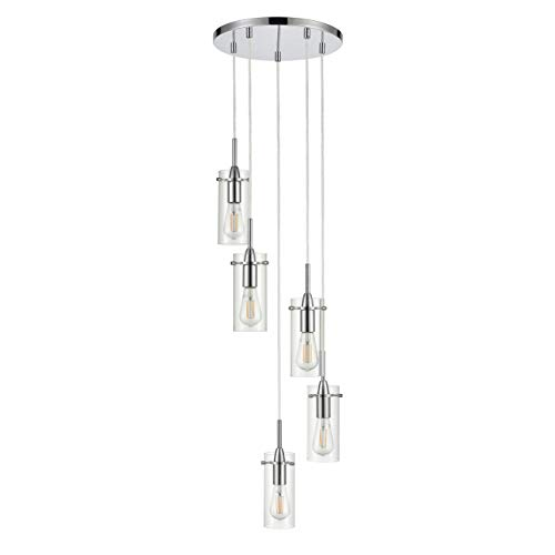 Effimero Multi Pendant Lighting for Kitchen Island | Chrome Chandelier Cluster Pendant 5 Light Fixture LL-C45-2PC