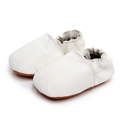 Moccasins Infant Toddler Crib Shoes Girls Boys Crawling Slippers Newborn First Walking Soft Sole Leather Loafers (M:6-12 Months/4.72