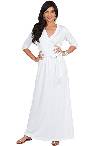 KOH KOH Womens Long 3/4 Half Sleeve Sleeves Flowy V-neck Casual Fall Winter Empire Waist Evening Cute Full Floor-length Gown Gowns Maxi Dress Dresses, Ivory White L 12-14