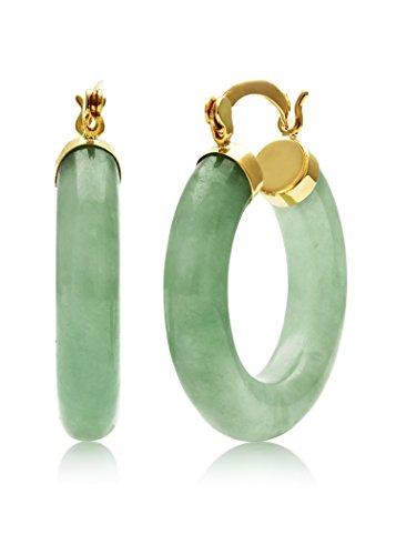- 10K Yellow Gold Genuine Green Jade Gemstone Hoop Earrings, 1