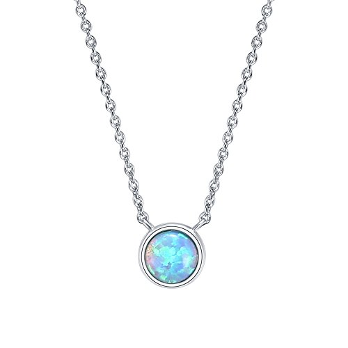 Tacori Bezel Necklace (PAVOI 14K Gold Plated Round Bezel Set Blue Opal Necklace 16-18