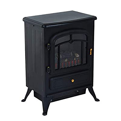 Black 2 Heat Setting 750W/1500W FreeStanding Electric Fireplace Heater Fire Stove LED Realistic Flame Effect Adjustable Brightness Safety Thermal Cut Off Switch Home LivingRoom Bedroom Cold Winter Use