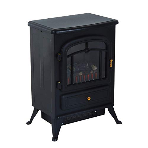 Cheap Black 2 Heat Setting 750W/1500W FreeStanding Electric Fireplace Heater Fire Stove LED Realistic Flame Effect Adjustable Brightness Safety Thermal Cut Off Switch Home LivingRoom Bedroom Cold Winter Use Black Friday & Cyber Monday 2019