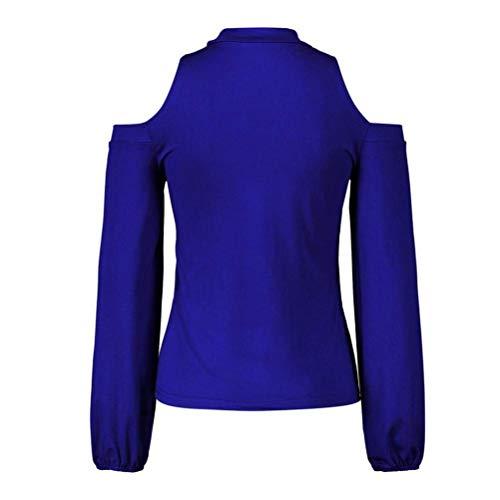 Loose Cuello Base Informal S Redondo Tops xl Camisetas De Primavera Corte Atractivas Hombros Azul Fit Los Manga Gargantilla Sudadera Mujeres Negro Talla Blusa Túnica Fuera Zhrui Rosa Larga Hzq6wR