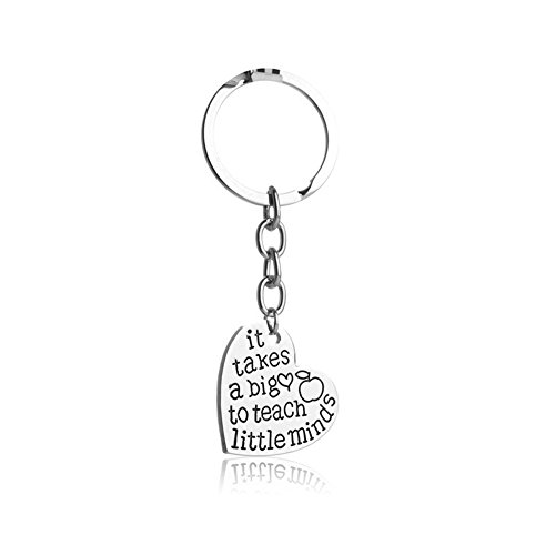 Teacher Appreciation Gifts for Women It Takes a Big Heart to Teach Little Minds Keychain Keyring Jewelry Thank You Birthday Gifts Graduation Gifts for Teachers Valentines Christmas Gifts ($5 Christmas Gifts Teacher Under)
