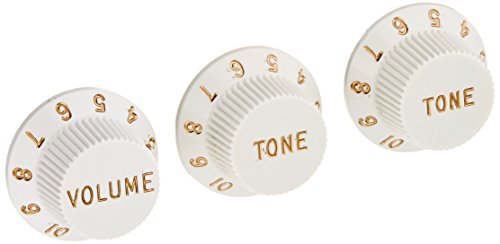 Fender Strat Knobs One Volume, Two Tone,  White
