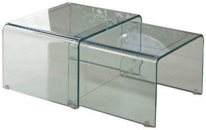 Wink design,.Jackson set 2 tavolini in vetro curvato