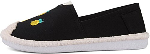 SATUKI Canvas Shoes For Women,Pull On Casual Comfort Flat Fashion Sneakers Loafers Black