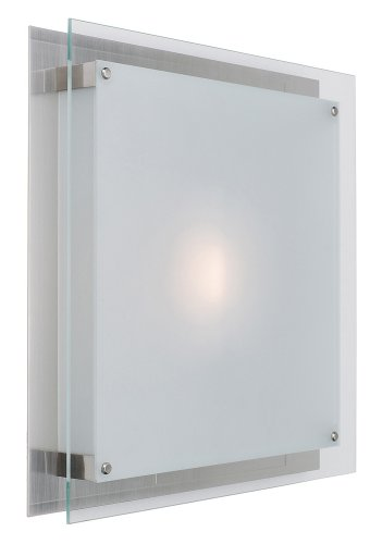 "Vision - 16""sq. Flush Mount - Brushed Steel Finish - Frosted Glass Shade from Access Lighting - HI"